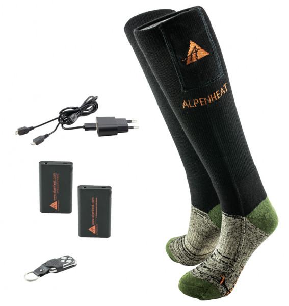 ALPENHEAT - FIRE-Socks Wolle Fernbedienung 36-38 - schwarz/grün AJ27-RC