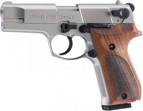 WALTHER - P88 Compact Nickel/Holz 9mm P.A.K.  / 10