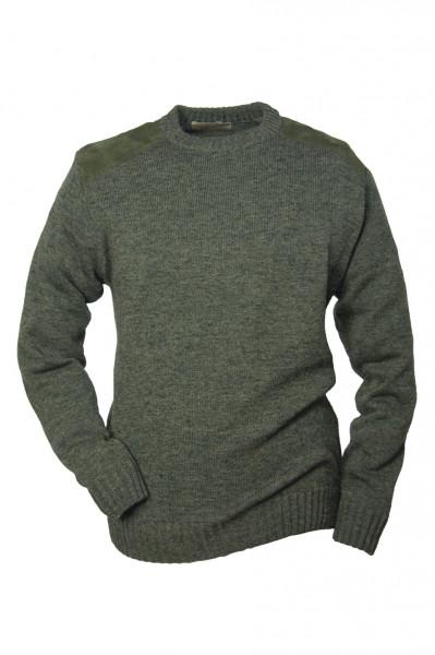 HUBERTUS - Rundhals-Pullover Micro Besatz oliv