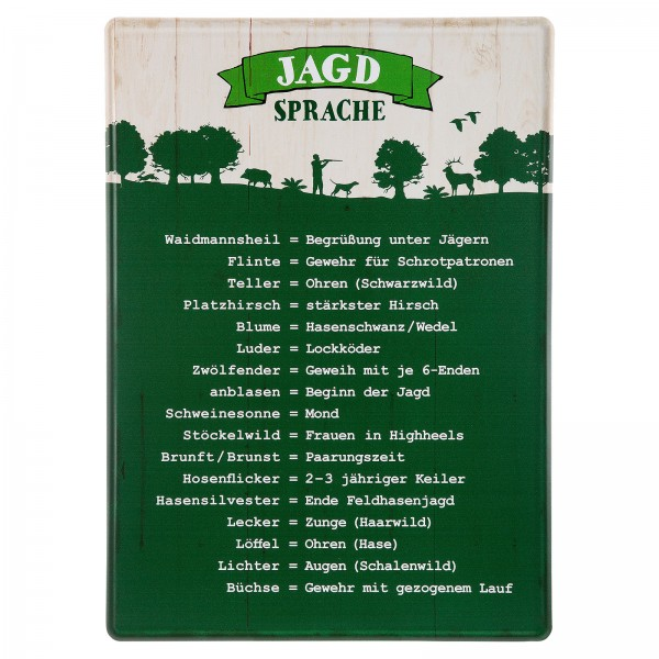 AKAH - Metallschild ''Jägersprache''